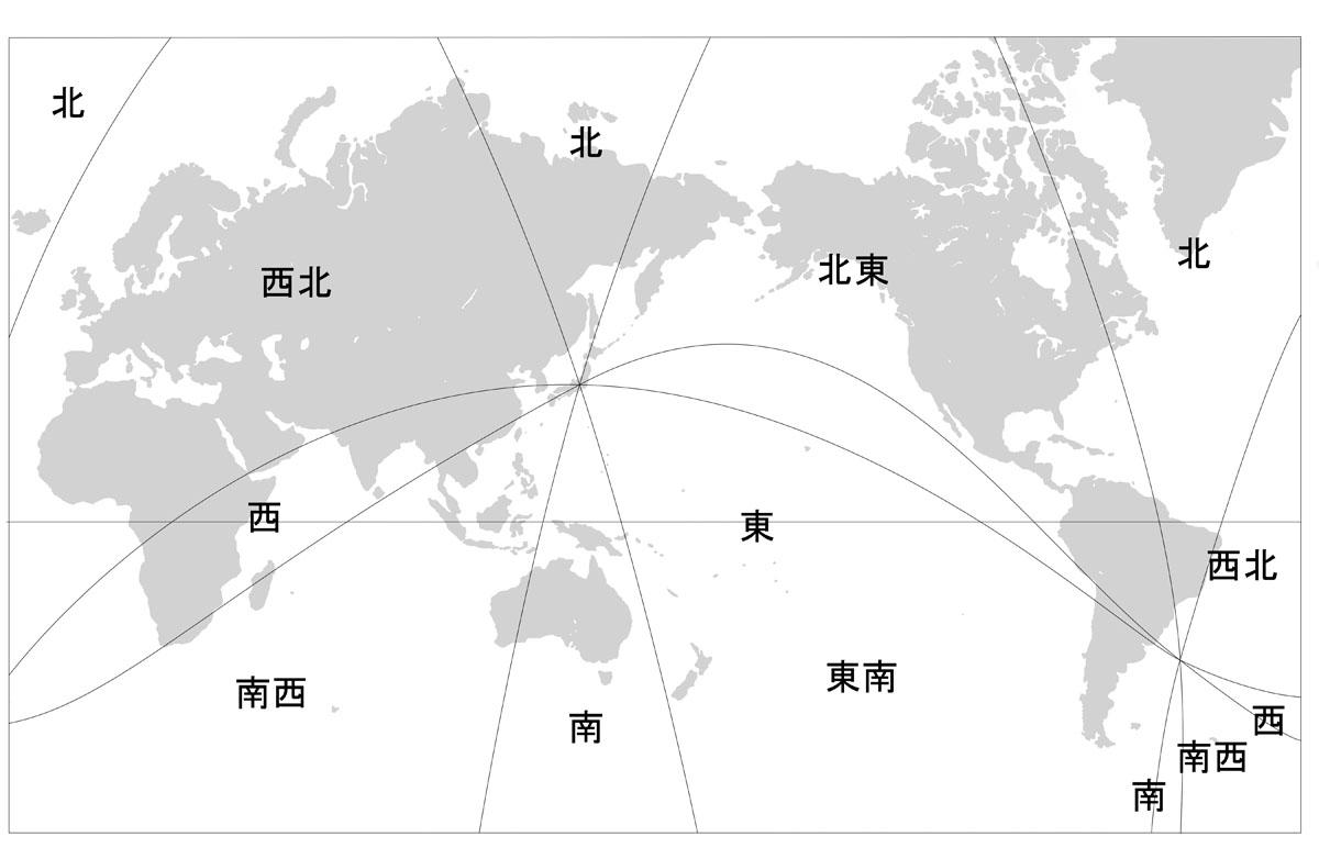 日本から見た世界の国々の方位